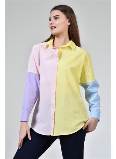 Rodi Jeans Kadın Renkli Bloklu Gömlek DS21YB033915 Pembe